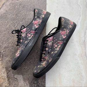 Black floral canvas Vans size 8.5 GUC
